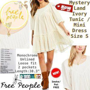 Free People Dresses - FP Mystery Land Ivory Tunic / Mini Dress S NWT ❤